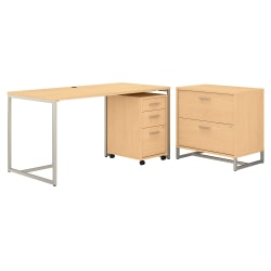"""kathy ireland® Office by Bush Business Furniture Method Table Desk With File Cabinets, 60""""W, Natural Maple, Standard Delivery"""