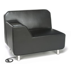 OFM Serenity Series Right Arm Lounge Chair With AC Outlet And USB Ports, Black/Chrome