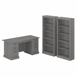 "Bush Furniture Saratoga 66""W Executive Desk And Bookcase Set, Modern Gray, Standard Delivery"