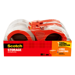 """Scotch® Long Lasting Storage Packing Tape, With Refillable Dispenser, 3"""" Core, 1-7/8"""" x 38.2 Yd., Clear, Pack Of 4 Rolls"""