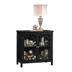 "Sauder® Palladia Display Cabinet With Glass Doors, 31-1/2""H x 31-1/2""W x 15-3/4""D, Black"