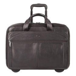"Solo® Walker Leather Rolling Case For 15.6"" Laptops, Espresso"