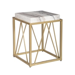 """Coast To Coast Marble Accent Table, 20-1/2""""H x 15-1/2""""W x 15-1/2""""D, Marble/Gold"""