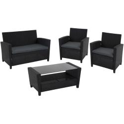 COSCO Malmo Outdoor 4-Piece Conversation Set, Gray/Black