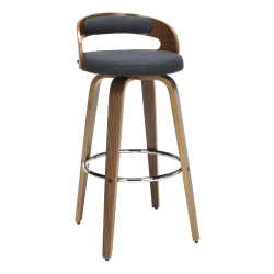 "OFM 161 Collection Mid-Century Modern Low-Back Stool, 38""H, Navy/Walnut"