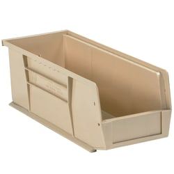 """Office Depot® Brand Plastic Stack And Hang Bin Boxes, 14 3/4"""" x 5 1/2"""" x 5"""", Ivory, Pack Of 12"""