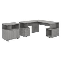 """kathy ireland® Home by Bush Furniture Madison Avenue 60""""W L-Shaped Desk With Lateral File Cabinet, Modern Gray, Standard Delivery"""