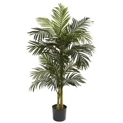 Nearly Natural 5'H Polyester Artificial Golden Cane Palm Tree with Pot, Green