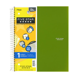 """Mead 1 - subject Graph Ruled Notebook - Letter - 100 Sheets - Wire Bound - Quad Ruled - 8 1/2"""" x 11"""" - White Paper - Plastic Cover - Perforated, Pocket Divider, Punched, Subject - 1Each"""