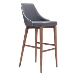 Zuo Modern® Moor Bar Chair, Dark Gray/Walnut