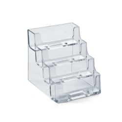 """Azar Displays 4-Tier Acrylic Business/Gift Card Holders, 14''H x 11''W x 5""""D, Clear, Pack Of 10"""