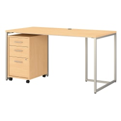 """kathy ireland® Office by Bush Business Furniture Method Table Desk With 3-Drawer Mobile File Cabinet, 60""""W, Natural Maple, Standard Delivery"""