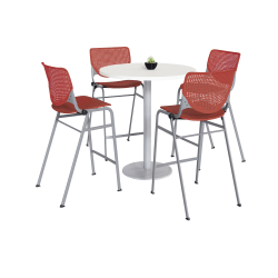 KFI Studios KOOL Round Pedestal Table With 4 Stacking Chairs, White/Coral Orange