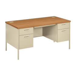 "HON® Metro Classic Double-Pedestal Desk, 60""W, Harvest/Putty"