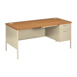 HON® Metro Classic Right Pedestal Desk, Harvest/Putty
