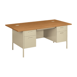 HON® Metro Classic Double-Pedestal Desk, Harvest/Putty