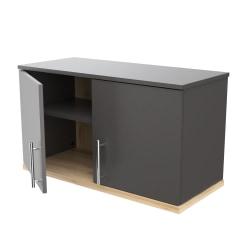 "Inval America 2-Door Wall-Mounted Garage Storage Cabinet, 18-1/8""H x 31-1/2""W x 13-13/16""D, Dark Gray/Maple"