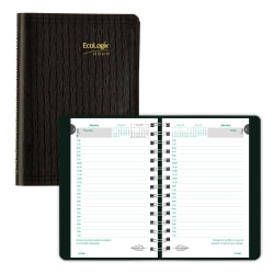 """Brownline® EcoLogix Daily Planner, 8"""" x 5"""", 100% Recycled, Black, January to December 2020"""