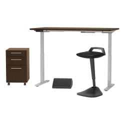 "Bush Business Furniture Move 60 Series 60""W x 30""D Adjustable Standing Desk with Lean Stool Storage and Ergonomic Accessories, Mocha Cherry, Standard Delivery"