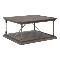 "Coast to Coast Corbin 36""W Wood Square Cocktail Table, Brown"