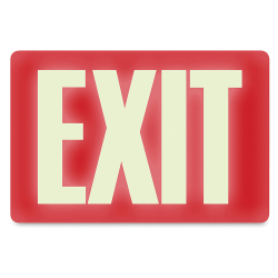 "U.S. Stamp & Sign Glow-In-The-Dark Sign, 12"" x 8"", ""Exit"", Red/White"