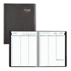 "Brownline® Ecologix®  Weekly Appointment Book, 11"" x 8-1/2"", 100% Recycled, FSC® Certified, Black, January to December 2021"