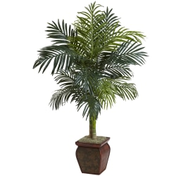 Nearly Natural 4-1/2'H Golden Cane Palm Tree With Decorative Planter, Green