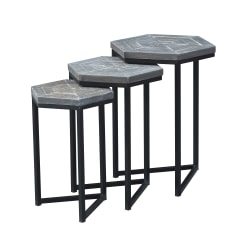 """Coast To Coast Nesting Tables, 24""""H x 18""""W x 16""""D, Brown, Set Of 3 Tables"""