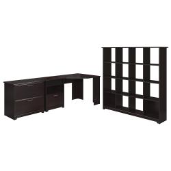 """Bush Furniture Cabot 60""""W Corner Desk With 16-Cube Bookcase And Lateral File Cabinet, Espresso Oak, Standard Delivery"""