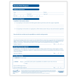 "ComplyRight Employee Remote Work Request Forms, 8-1/2"" x 11"", Pack Of 50 Forms"