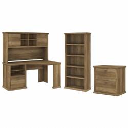 """Bush Furniture Yorktown 60""""W Corner Desk With Hutch, Lateral File Cabinet And 5-Shelf Bookcase, Reclaimed Pine, Standard Delivery"""