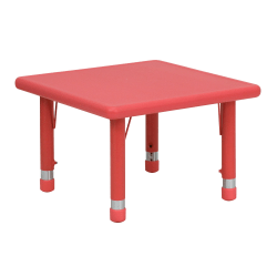 """Flash Furniture 24"""" Square Plastic Height-Adjustable Activity Table, Red"""