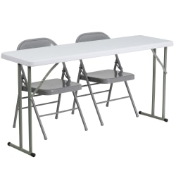 Flash Furniture 5' Plastic Folding Training Table with 2 Metal Folding Chairs, Gray