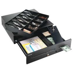 STEELMASTER® 1060GT High-Security Cash Drawer, 13 Compartments, Black