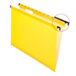 Pendaflex® SureHook™ Reinforced Hanging Folders, 1/5-Cut, Letter Size, Yellow, Box Of 20