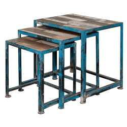 Coast To Coast Metal Nesting Tables, Blue, Set Of 3 Tables