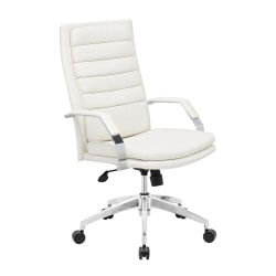 Zuo Modern® Director Comfort Office Chair, White/Chrome