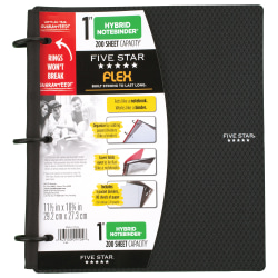 """Five Star® Flex® Hybrid NoteBinder® With Customizable Cover, 1"""" Round Rings, Black"""