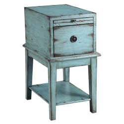 Coast to Coast 1-Drawer Wood Chest Table, Blue
