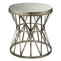 "Coast To Coast Round Drum Metal Accent Table, 23""H x 22""W x 22""D, Antique Nickel"