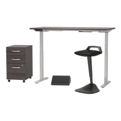 "Bush Business Furniture Move 60 Series 60""W x 30""D Adjustable Standing Desk with Lean Stool Storage and Ergonomic Accessories, Storm Gray, Standard Delivery"