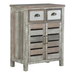 """Powell Scrofano Console Table, 17-1/2""""H x 34-1/2""""W x 14""""D, Distressed Brown"""