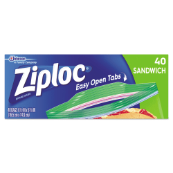 """Resealable Sandwich Bags, 1.2 mil, 6.5"""" x 5.88"""", Clear, 40/Box"""
