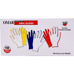 Omar Disposable Powder-Free Vinyl General-Purpose Gloves, Small, Clear, 100 Gloves Per Box