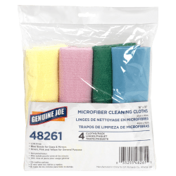 Genuine Joe Microfiber Cleaning Cloths, Box Of 4