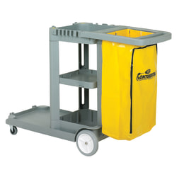 "CMC Standard Janitorial Cleaning Cart, 38""H x 19 3/4""W x 56""D, Grey"