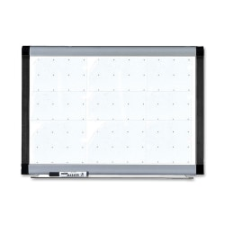 "Lorell® Magnetic Unframed Dry-Erase Whiteboard With Grid Lines, 48"" x 36"", Ebony/Silver Metal Frame"