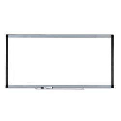 """Lorell® Signature Series Magnetic Unframed Dry-Erase Whiteboard, 96"""" x 48"""", Ebony/Silver Metal Frame"""
