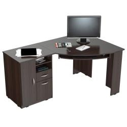 Inval Corner Computer Desk, Espresso-Wengue