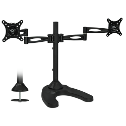 """Mount-It Dual LCD Mount Stand For 13 - 27"""" Monitors, 19""""H x 35-1/2""""W x 5""""D, Black"""